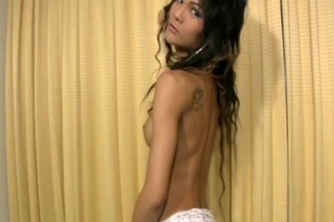 slim dark Hair Ladyboy disrobes Off Girly costume And Cums Hard