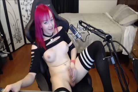 Redhead TS ejaculates On Her Belly