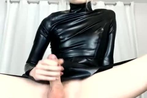 Trap Wears Latex And Shows large pecker