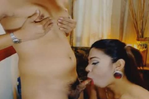 dilettante ladyboy couple pleasure one as well as the other cock And pooper pooper