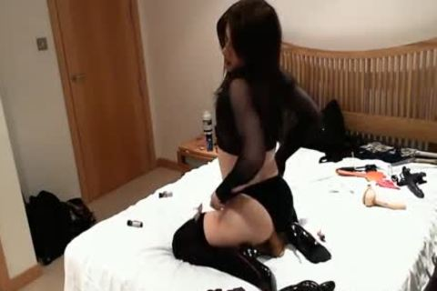 sleazy wicked sheboy skank bonks fake penis toys And High Heels Up Her cute arsehole
