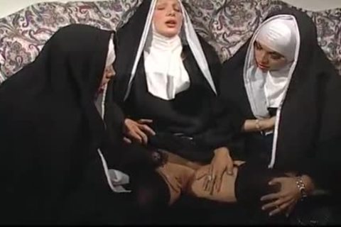 Two Nuns Are Comforting A Sister, But that babe do not Know They're Two lustful shemales!
