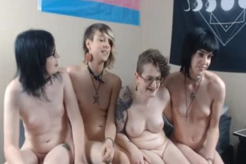 A Bunch Of nice-looking lady-twinks giving a kiss And Giving Handjobs