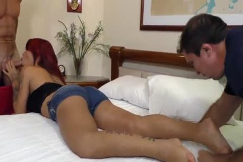 Sex Crazed sheboy Nicolly Pantoja Is Double pooper fucked By Two humongous knobs