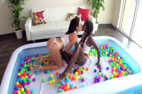 SinsLife Sex journey: Ana Foxxx, Kissa And Johnny, Oiled hardcore In Ball Pit!