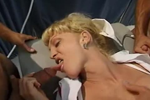 blonde tgirl With perfect mambos Olivia Love  Sucks Two weenies Then acquires Her darksome hole drilled By Two boyz