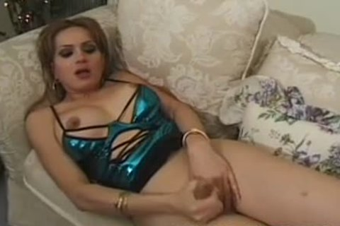 lady-boy In lovely dress Jerking this guyr rod