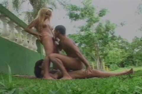 Two delicious Brazilian lady-man strumpets plow A guy On A Picnic Table In The Park