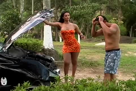 Hunky Latin twink enjoys his t-girl friend outdoors